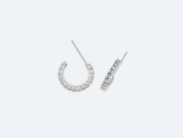 Silver Round Cubic Earrings img