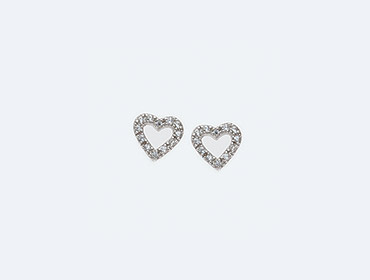 Silver Cubic Heart Earrings img