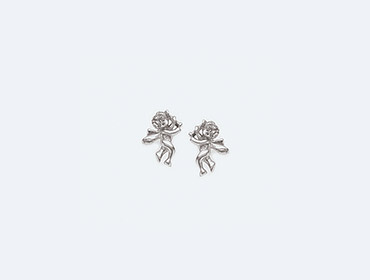 Silver Round Four Claw Earrings img