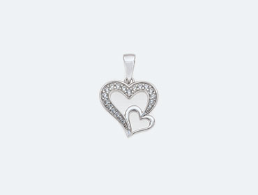 Silver Cubic Heart Pendants img